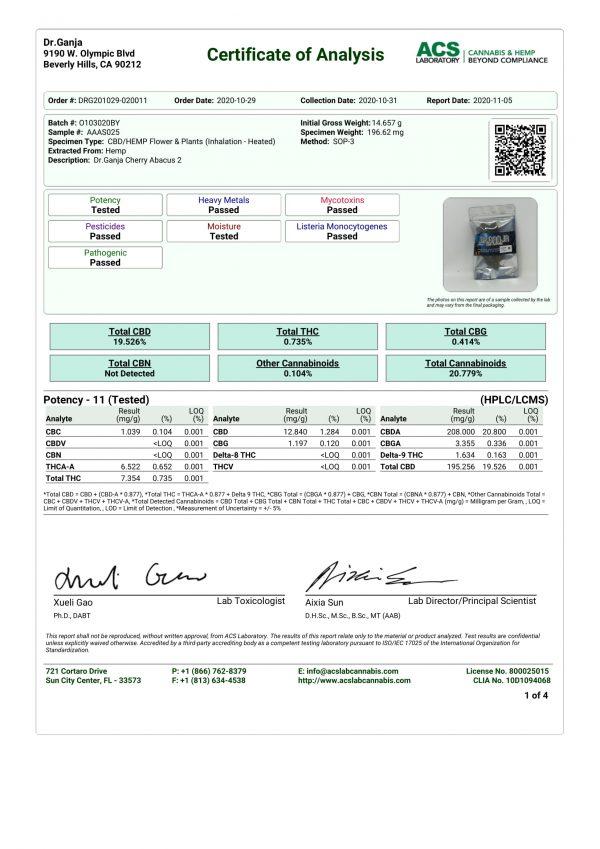 Dr.Ganja Cherry Abacus Cannabinoids Certificate of Analysis