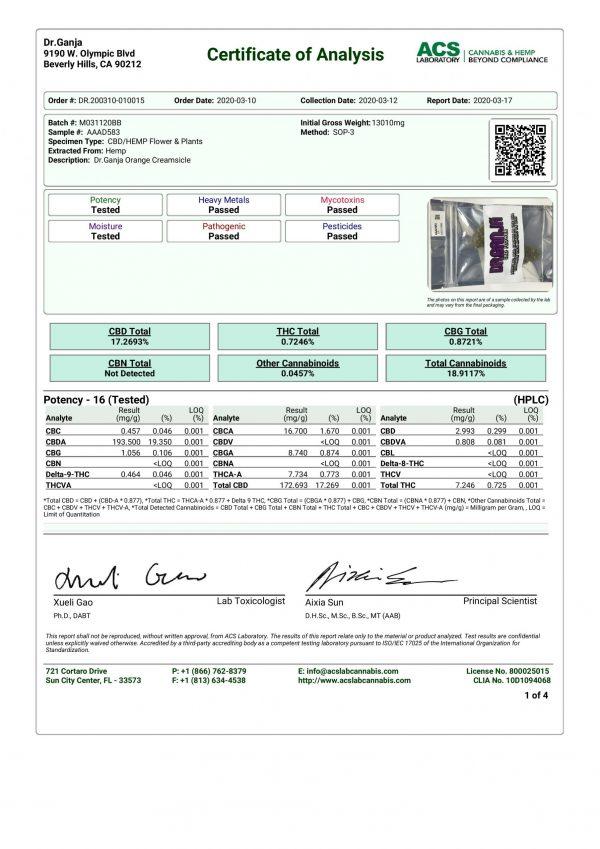 DrGanja Orange Creamsicle Cannabinoids Certificate of Analysis