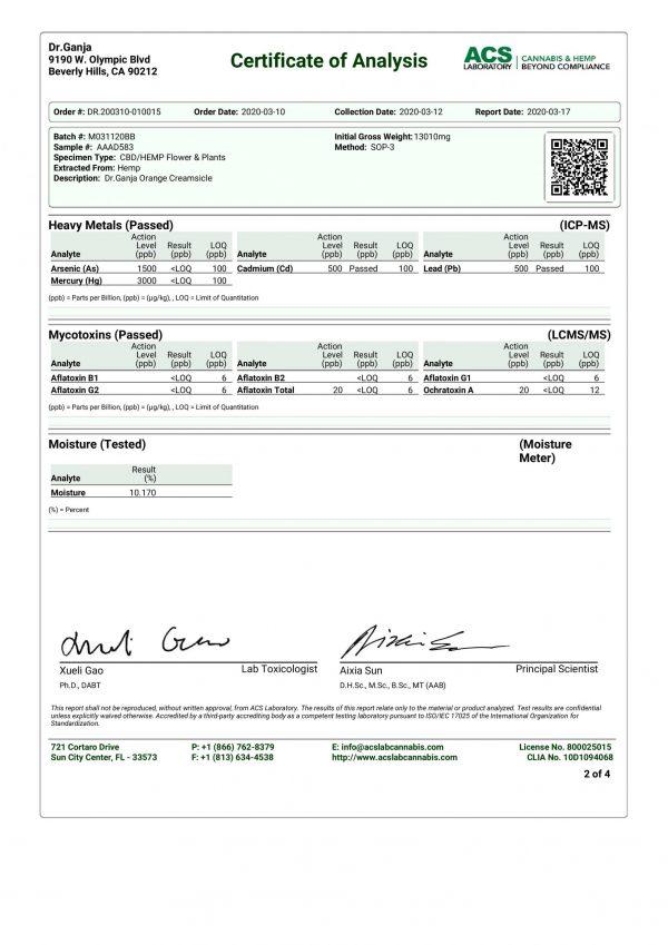 DrGanja Orange Creamsicle Heavy Metals Mycotoxins Certificate of Analysis