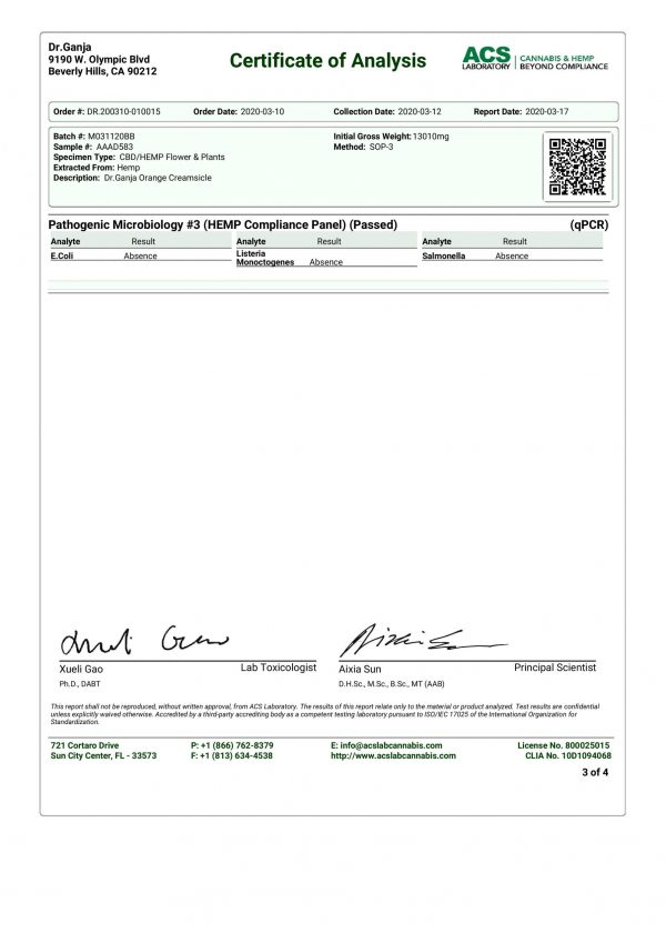 DrGanja Orange Creamsicle Microbials Certificate of Analysis
