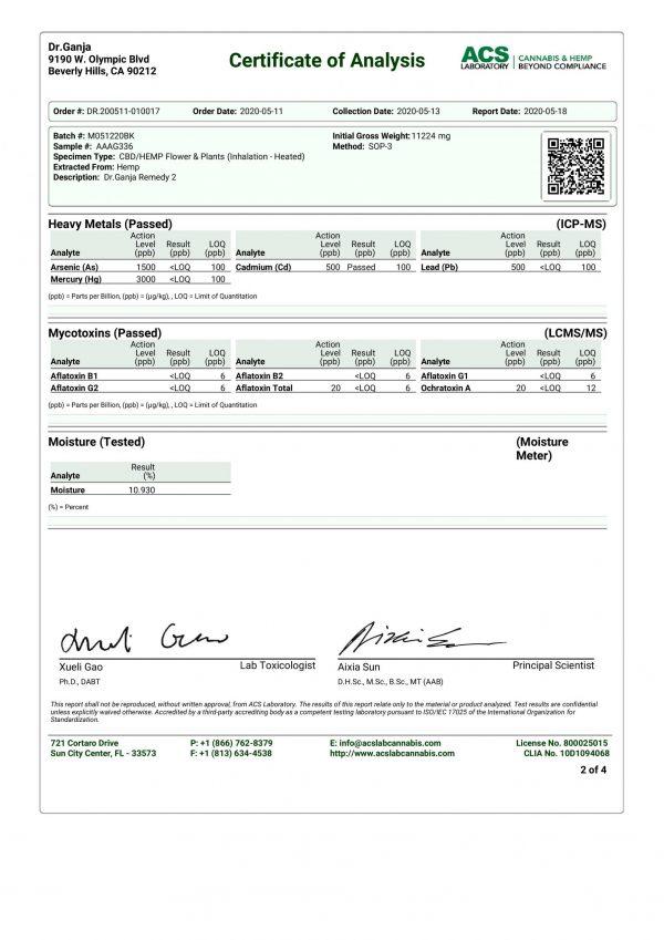 DrGanja Wholesale Remedy CBD Flower Heavy Metals and Mycotoxins Certificate of Analysis