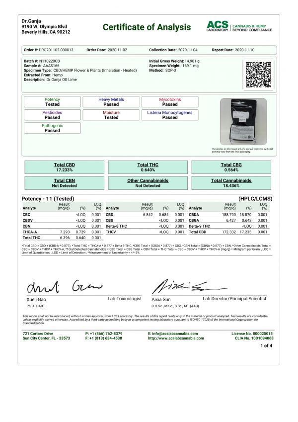 Dr.Ganja OG Lime Certificate of Analysis
