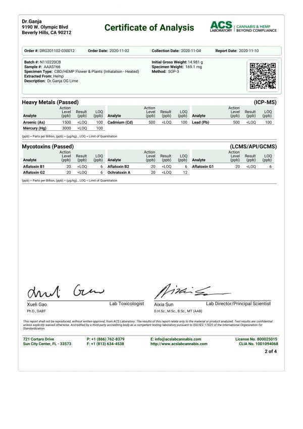 Dr.Ganja OG Lime Heavy Metals Mycotoxins Certificate of Analysis