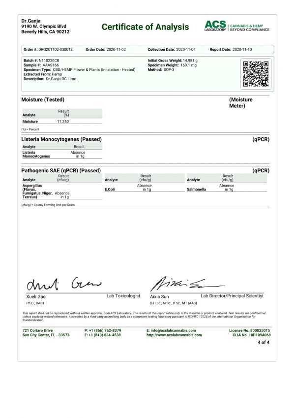 Dr.Ganja OG Lime Microbials Certificate of Analysis