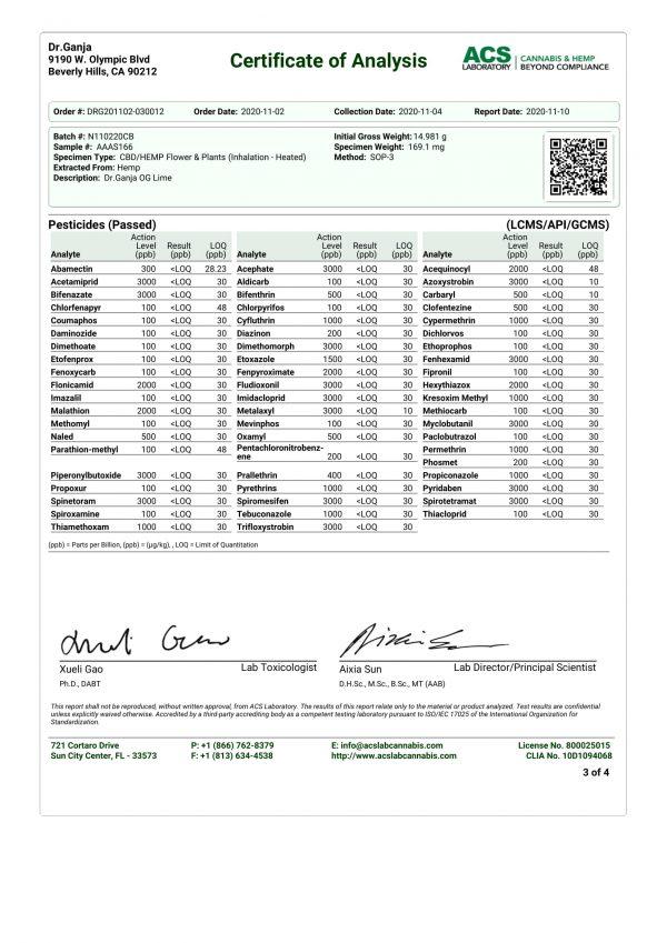 Dr.Ganja OG Lime Pesticides Certificate of Analysis