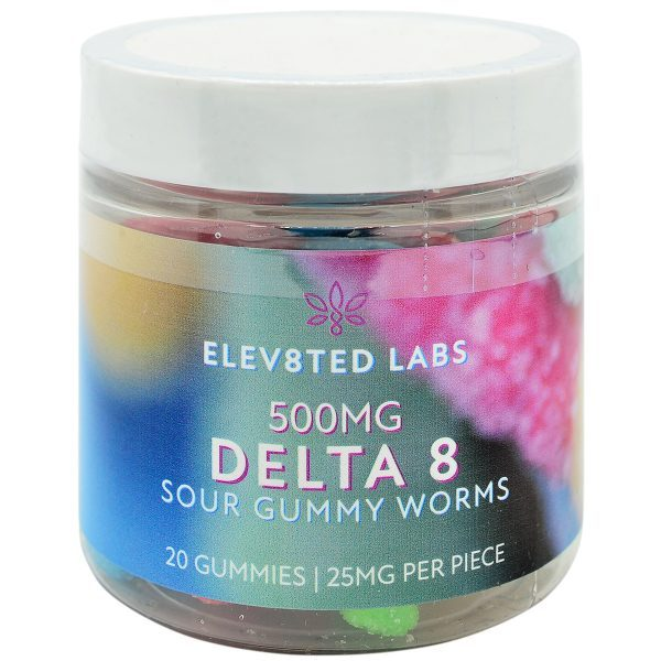 Eleva8ted Delta 8 Sour Gummy Worms 500mg 20ct